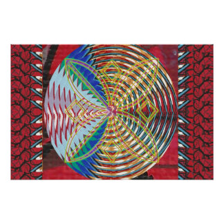Graphic Decorations :  Flowers Circles Colorful Poster