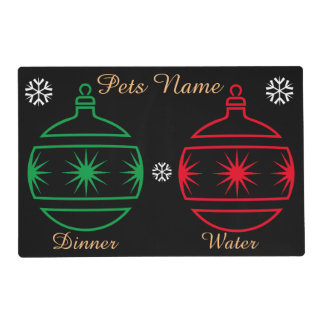 Graphic design baubles and stars pets christmas placemat