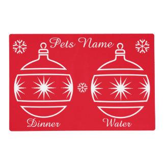 Graphic design baubles pets christmas laminated placemat