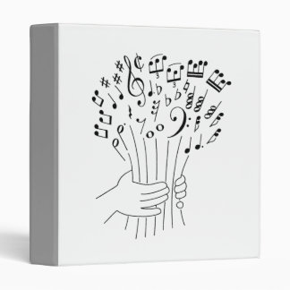 Graphic design : flowers of musical notes - 3 ring binder