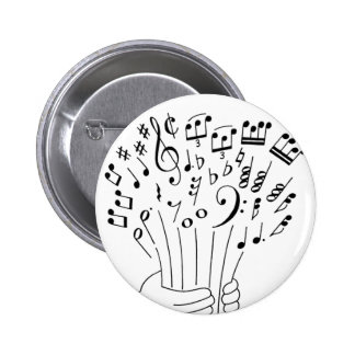 Graphic design : flowers of musical notes - button