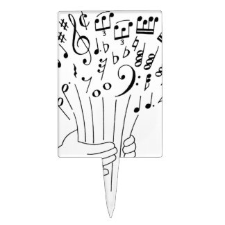 Graphic design : flowers of musical notes - cake picks