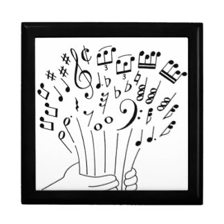 Graphic design : flowers of musical notes - keepsake box