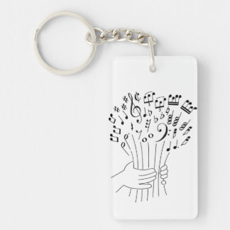 Graphic design : flowers of musical notes - keychain