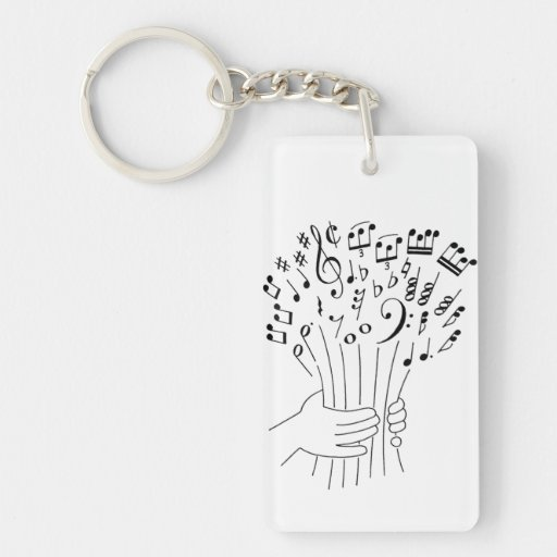Graphic design : flowers of musical notes - Single-Sided rectangular acrylic keychain