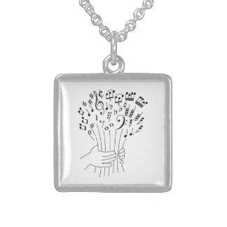 Graphic design flowers of musical notes - necklace