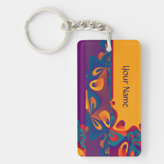 Graphic Design Pattern - violet orange + your text Double-Sided Rectangular Acrylic Keychain