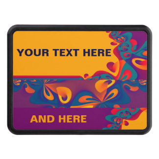 Graphic Design Pattern - violet orange + your text Trailer Hitch Covers