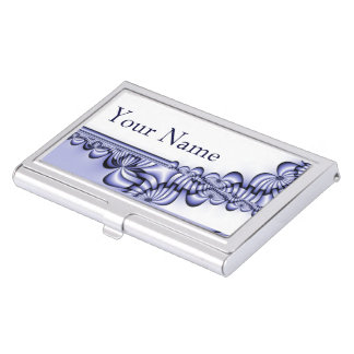 Graphic Design Pattern - white blue + your text Business Card Holder