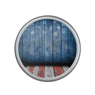 graphic design, us flag colors and decor on wood bluetooth speaker