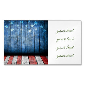 graphic design, us flag colors and decor on wood w magnetic business card