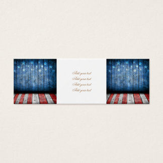 graphic design, us flag colors and decor on wood w mini business card