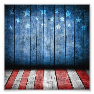 graphic design, us flag colors and decor on wood w photo print