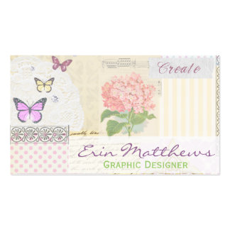 Graphic Designer Creator Pink and Girly Collage Business Cards