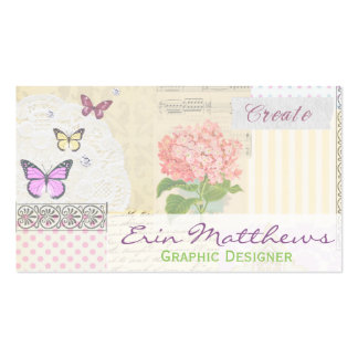 Graphic Designer / Creator Pink and Girly Collage Business Card
