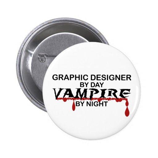 Graphic Designer Vampire by Night Button