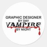 Graphic Designer Vampire by Night Classic Round Sticker