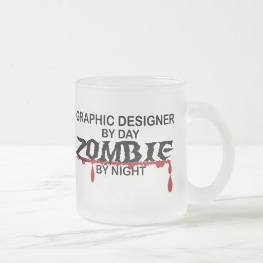 Graphic Designer Zombie 10 Oz Frosted Glass Coffee Mug