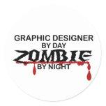 Graphic Designer Zombie Classic Round Sticker