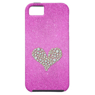 Graphic Diamond Heart Pink Glitter Background iPhone 5/5S Covers