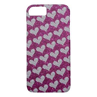 Graphic Diamond Hearts Purple Glitter Background iPhone 7 Case