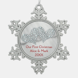 Graphic Diamonds Hearts | Our First Christmas Snowflake Pewter Christmas Ornament