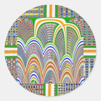 Graphic Digital Decoration Pattern Rainbow 7 Classic Round Sticker
