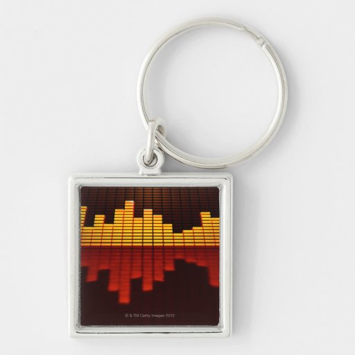 Graphic Equalizer Display Silver-Colored Square Keychain