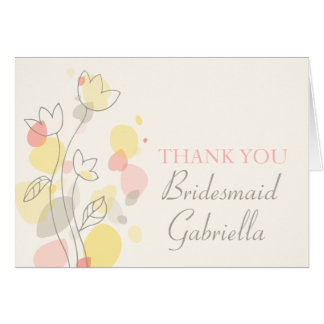 Graphic floral wedding bridesmaid thank you card