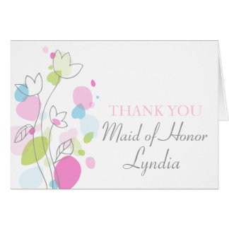 Graphic floral wedding Maid of Honor thanks card