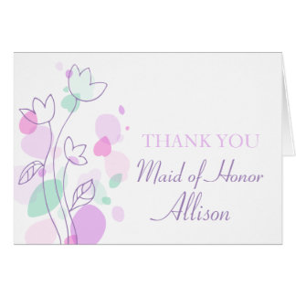 Graphic floral wedding maid of honor thankscard stationery note card