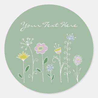 Graphic flower design classic round sticker
