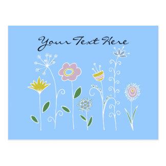 Graphic flower design postcard