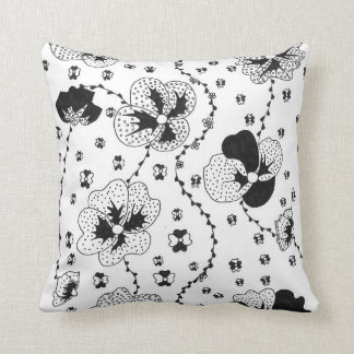Graphic Flowers Throw Pillows