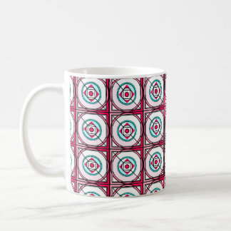 Graphic geometric pattern in pink and turquoise classic white coffee mug