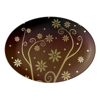 Graphic Gold Blooming Flowers on Brown Gradient Porcelain Serving Platter