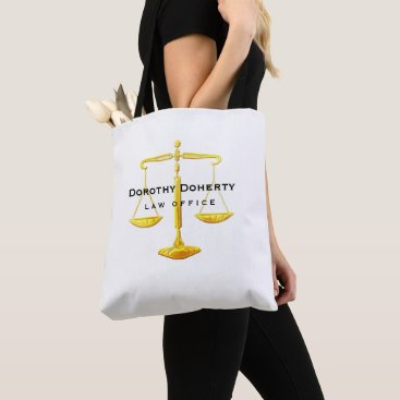 Lawyer Themed Graphic Golden Scales of Justice | Lawyer Tote Bag