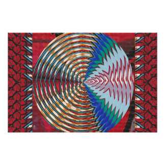 Graphic Golden Sparkle :  Waves Circles Colorful Poster
