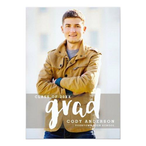 Graphic Grad Modern Brush Lettered  Graduation Invitation