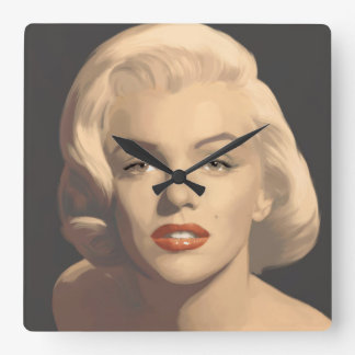 Graphic Gray Marilyn Square Wall Clock