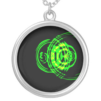 Graphic Green Circles Round Pendant Necklace