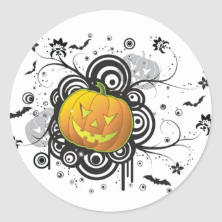 Graphic Halloween Jack-O-Lantern Classic Round Sticker