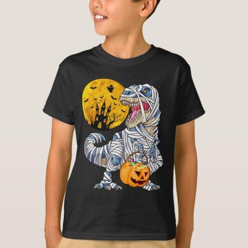 Graphic Halloween mummy dinosaur T_Shirt