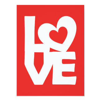 Graphic Illustration I love You with heart on red Card