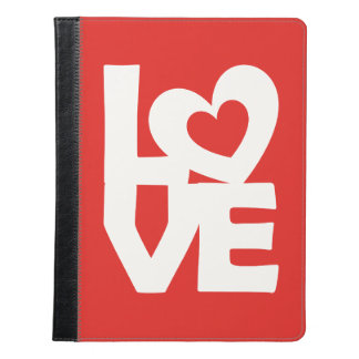 Graphic Illustration I love You with heart on red iPad Case