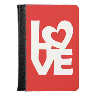 Graphic Illustration I love You with heart on red Kindle Case
