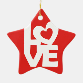 Graphic illustration I love You with heart on talk Ceramic Ornament
