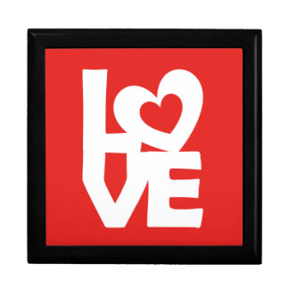 Graphic illustration I love You with heart on talk Jewelry Box