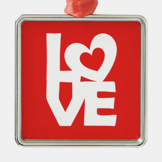 Graphic illustration I love You with heart on talk Metal Ornament