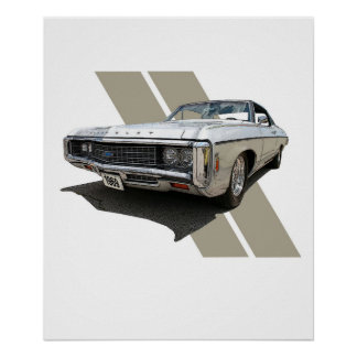 Graphic illustration of a silver 1969 Chevrolet Poster